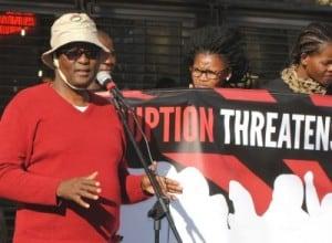 Zwelinzima Vavi speaking at a Unite Against Corruption protest at the Constitutional Court.