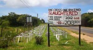Rhino poaching memorial near St Lucia Estuary, KZN