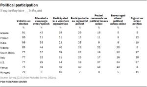 Pew survey - types of political participation